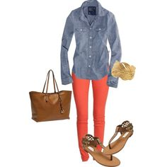 chambray and orange (American Eagle Outfitters Ae Chambray Western Shirt $19.26)