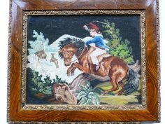 ANTIQUE WOOLWORK FRAMED PICTURE - VICTORIAN NEEDLEPOINT SCENE