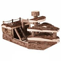 Wooden Pirate Ship Shape Hamster Toy 39 x 21 x 19cm (61644)