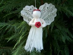 Angel Christmas Ornament Set of  3 red halos от MinnieMaes на Etsy