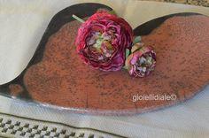 Piatto/vassoio in ceramica raku rosa