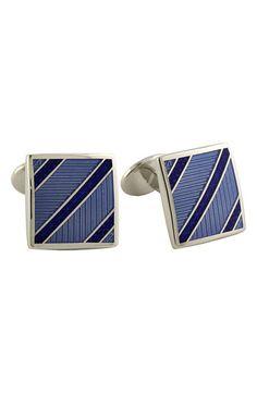 Men's David Donahue 'Diagonal Stripe' Cuff Links - Light Blue/ Blue/ Silver