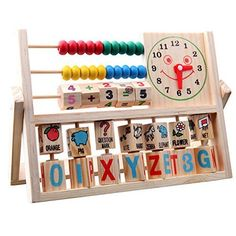 Lisingtool Toys, Children Baby Kids Learning Developmental Versatile Flap Abacus Wooden Toys >>> Review more details @