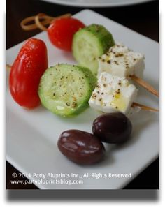 Great appetizer idea....  cherry tomatoe, klamata olives, cucumber, mozerella cheese, drizzle with olive oil.