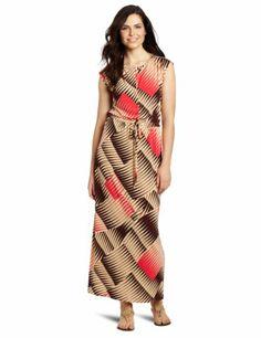 Anne Klein Women's Maxi Dress, Brown/beige/pink, X-large