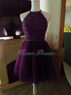 Grape Halter Beads Prom Dresses Short Evening Dresses,
