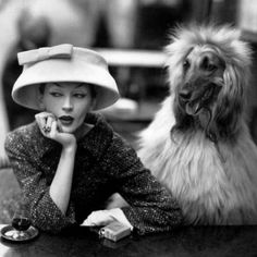 Lady in hat with afghan hound