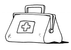 Kleurplaat dokterstas, hier kun je meer kleurplaten vinden over het thema: ziek en gezond