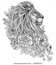 of lion with ethnic floral doodle pattern peonies and other flowers ...