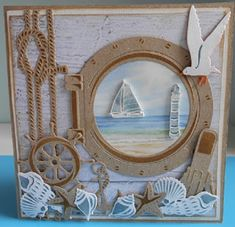 Crea Ankie: Examples of the Treasury July / August Beach Scrapbook Layouts, Album Scrapbook, Nautical Cards, Nautical Theme, Impression Obsession Cards, Marianne Design Cards, Beach Cards, Sea Theme, Masculine Cards