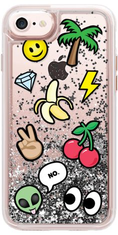 Casetify iPhone 7 Glitter Case - EMOTICONS by Katie Reed #Casetify