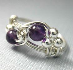 Amethyst Ring Birthstone Schmuck Draht gewickelt Sterlingsilber Birthstone Ring - alle Geburt Monate verfügbar - Duett
