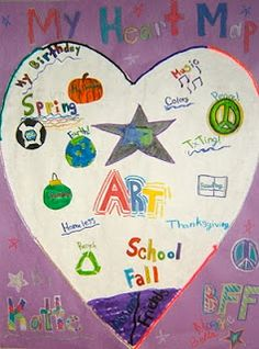 Great first week of school project- Heart Maps (great way to give students ideas to write about)