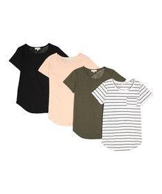 Urban Diction Pink & Black Pocket Tee Set - Women & Plus Black Stripes, Pink Black, New Chic, Pocket Detail, Affordable Fashion, Wardrobes, Wardrobe Staples, Style Me, Clothes For Women