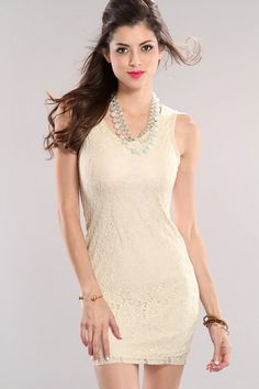 Cream Crochet Sexy Party Dress