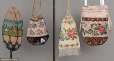 """Four beaded bags, 1840-1860s, All draw-string & worked in tiny glass beads: 2 floral designs, 1 5"""" x 6.5"""" plus 1.5"""" fringe & 1 6"""" x 6""""; 2 figural scenes, 1 w/ figure boating by a building, 5.5"""" x 5.75"""" & 1 woman chasing geese, 9"""" x 8"""", very good-excellent. Property of The Strong, sold to benefit museum collection fund. Augusta Auctions"""