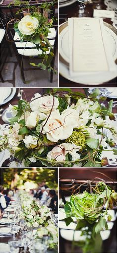 I LOVE these flower ideas...a bit wild but elegant.  The rose on the back of your and Jeff's chairs would look so good in photos while you were seated from behind!