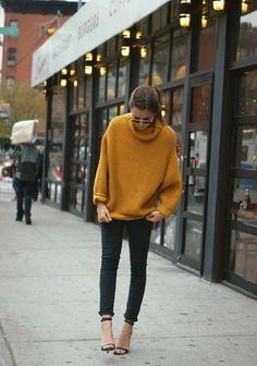 mustard orange turtleneck knit chunk knit sweater + black denim rolled + ankle strap sandals