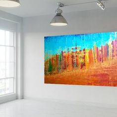 Reaching the sky - XXL autumnal palette knife painting - Ivana Olbricht Palette Knife Painting, Different Light, Golden Color, Copper Color, Ivana, Abstract Landscape, Colorful Backgrounds, Landscapes, Things To Come