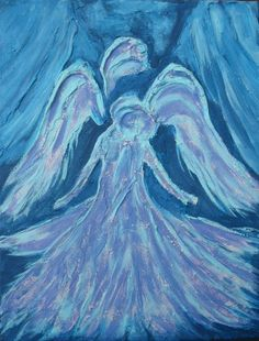 acrylic+paintings+of+angels | Blue Angel Acrylic Painting Original http://upcycledpeacock.blogspot ...