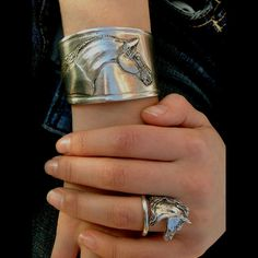 Arabian Horse matching Cuff & Ring Set by HorseLadyGifts on Etsy, $47.99