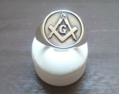 Masonic Blue Lodge Ring Cigar Band Style in Gold by ProLineDesigns
