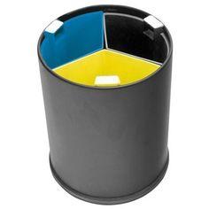 750208: Afvalbak voor gescheiden afval - 3 x 3 l - ZWART