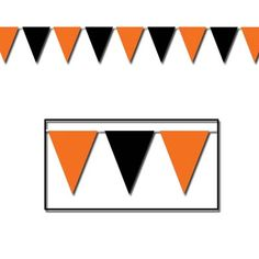 "Orange & Black Outdoor Pennant Banner 17"" x 30' all-weather; 15 pennants/string-00116  www.logosurfing.com (800) 728-7192"