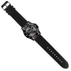 Superman Black Logo Watch with Black Rubber Strap
