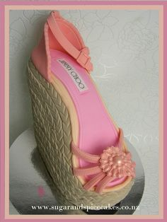 Jimmy Choo Wedge Shoe Cake from www.sugarandspicecakes.co.nz  Tutorial available on www.etsy.com/shop/melsugarmamas
