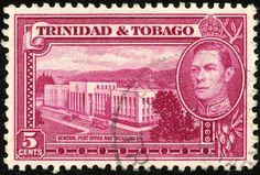 """Trinidad & Tobago 1941 Scott 54 5¢ magenta """"General Post Office and Treasury"""""""