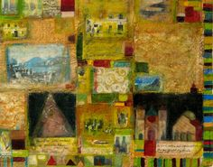 Encaustic and collage painting on rag paper