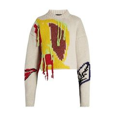 Joseph Abstract-embroidered wool cropped sweater ($713) ❤ liked on Polyvore featuring tops, sweaters, cream multi, crop top, white embroidered top, hand knitted sweaters, white sweater and hand knit wool sweaters