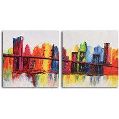 Hand-painted 'Psychedelic City' 2-piece Canvas Set | Overstock.com Shopping - Top Rated Canvas