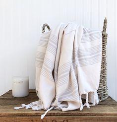 Grey Stripe on Natural Turkish Towel