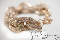 Pave Link Bracelet  J Crew Pave Bracelet  Gold by PureStunning, $29.99