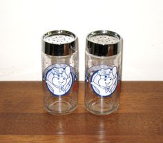 Vintage Glass POPPIN' FRESH Pillsbury Dough Boy Salt & Pepper Shakers/ Free Shipping by CookieGrandma60, $27.00