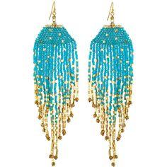 Nakamol Long Beaded Fringe Drop Earrings (26 BAM) ❤ liked on Polyvore featuring jewelry, earrings, blue, beading earrings, graduation jewelry, 14 karat gold earrings, beads jewellery and long earrings