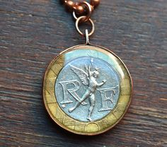 French Icarus Coin Pendant