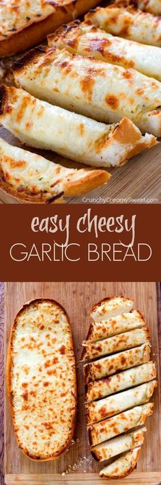 Easy Cheesy Garlic Bread - perfect to go with pasta dishes or soups! So easy and so good, you won't be able to stop eating it! Easy Cheesy Garlic Bread - perfect to go with pasta dishes or soups! So easy and so good, you won't be able to stop eating it! Cheesy Garlic Bread, Pasta Dishes, Pasta Food, Lasagna Side Dishes, Cheese Dishes, Pasta Bake, Love Food, Food To Make, Cooking Recipes