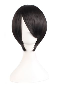 MapofBeauty Short Straight Cosplay Costume Wig Party Wig (Black)