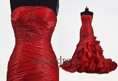 Custom Red Applique Organza Wedding Dresses Fahion Tiered Mermaid Bridal Gowns Elegant Beaded Prom Dress Evening Gowns Long Wedding Dresses