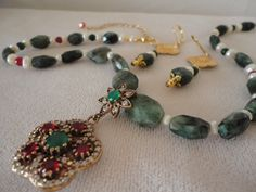 Stunning Renaissance Inspired Emeralds Rubies Pearls Necklace Set*******. by RamsesTreasure on Etsy