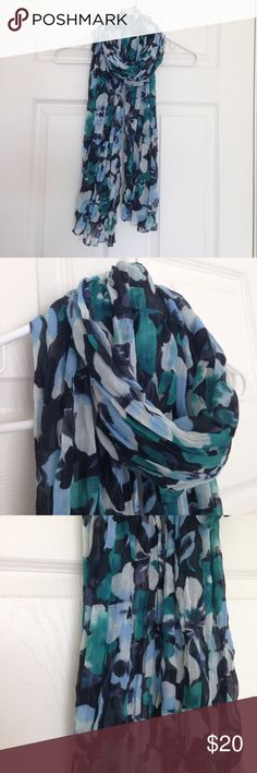 """Floral Scarf Blue, navy, green and black Floral scarf. No tag. Lightweight. No stains or holes but little snag. Picture above. Wide: length: 23"""" GAP Accessories Scarves & Wraps"""