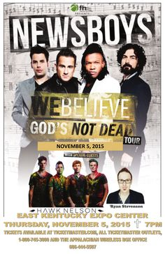 Great seats are still available for the Newsboys concert on November 5th at the East Kentucky Expo Center. With special guests Hawk Nelson and Ryan Stevenson, this is one event you won't want to miss! Purchase your tickets today at the Appalachian Wireless Box Office which is located at the East Kentucky Expo Center, www.ticketmaster.com or charge by phone at 1-800-745-3000. For more information call 606-444-5507.