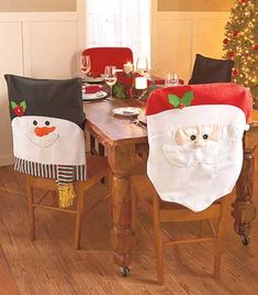 This Set of 2 Holiday Chair Covers ushers your dining room into the Christmas spirit. Simply slip the covers over the backs of your chairs to transform them into a beloved character. Order several sets to coordinate all your chairs; get a few of each sty