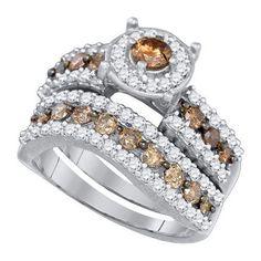 1 3/4CT-Diamond MICRO-PAVE BRIDAL BROWN RING