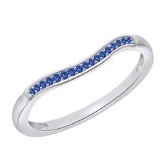0.15ct Round Blue Sapphire 10k White Solid Gold Anniversary Band #Affinityfashionjewelry #AnniversaryBand #(I-CMR11693BS-WG)