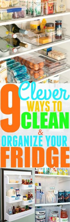 9 Clever Ways to Clean and Organize Your Fridge Keeping your fridge clean and organized is essential for your health. These hacks will easily help you keep your fridge clean! Refrigerator Organization, Storage Organization, Organizing Ideas, Organising, Organize Fridge, Storage Drawers, Kitchen Organization, Diy Cleaning Products, Cleaning Hacks