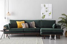 whkmp& own hoekbank rechts Torino velours Brown Couch Living Room, Living Room Sofa Design, New Living Room, Living Room Decor, Dark Green Couches, Green Rooms, Living Furniture, Look Fashion, Retro